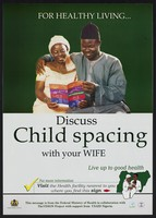 view A couple reading a family planning method leaflet: family planning in Nigeria. Colour lithograph by Federal Ministry of Health, ca. 2001.