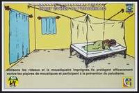 view A woman and her child lie beneath a mosquito net: preventing malaria in Senegal. Colour lithograph by DNSR (?), ca. 2000.