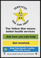 view A yellow star bearing a male and female health worker: The Yellow Star care programme in Uganda. Colour lithograph, ca. 2001.