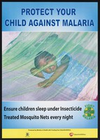 view A child lying beneath a mosquito net: malaria prevention in Uganda. Colour lithograph by the Ministry of Health, ca. 2000.
