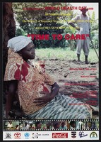 view A pregnant woman rests by a tree: advert for a video 'Time To Care' to mark World Health Day 1998. Colour lithograph by the Ministry of Health, 1998.