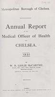 view Annual report of the Medical Officer of Health for Chelsea, 1931.