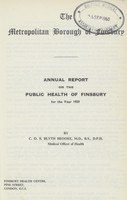 view [Report of the Medical Officer of Health for Finsbury Borough].