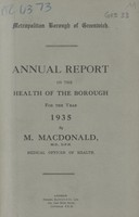 view [Report of the Medical Officer of Health for Greenwich Borough].