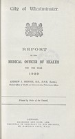 view [Report of the Medical Officer of Health for Westminster, City of].