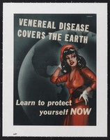 view A promiscuous woman dressed in red with a map of the Americas behind her; warning American servicemen against sexually transmitted diseases. Colour lithograph after F. Williams, 194-.