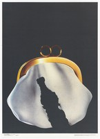 view A purse with a hole in it in the shape of a bottle of liquor; representing the expense of drinking alcoholic drinks. Colour lithograph after I. Tarasov, 1987.