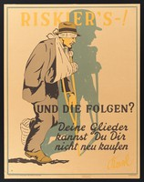 view A man who has lost use of his limbs by taking a risk. Colour lithograph by R..l (?), 1929.