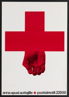 view The Red Cross with its lower member in the form of an open hand; appealing for funds for the Red Cross organization in Finland. Colour lithograph after E. Ruuhinen, 20-- (?).