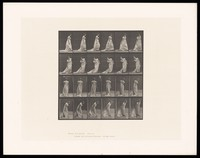view A clothed woman bending to her right to grasp the train of her dress and then turning. Collotype after Eadweard Muybridge, 1887.