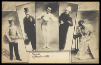 view Leopoldo Fregoli, in drag, poses in several inset portraits. Process print, 1903.
