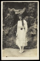 "view An actor in drag, from ""Jays concert party"". Photographic postcard, 1918."