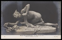 view Mercury discovering the caduceus. Photographic postcard by Neurdein frères after A. Idrac, 191-.