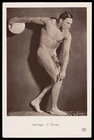 view George O'Brien posing as the Discobolus. Photographic postcard, 192-.