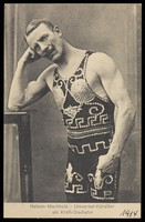 view Tony Nelson-Machholz, a strongman and acrobat, rests his head on his fist. Process print, 1914.