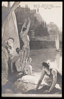 view Young men bathing naked in the Tiber. Process print after Georges Paul Leroux, 1909.