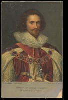 view A portrait of George Villiers, 1st Duke of Buckingham by C. Janssen. Colour process print, 19--.