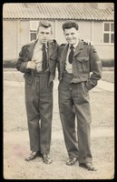 view Two young soldiers. Photograph, ca. 1955.