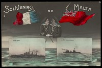 view A French and a British sailor embrace, with their ships inset below; representing alliance between the French and British navies. Coloured photographic postcard, 191-.
