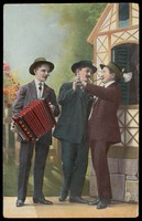 view Two Dutch men dancing together, accompanied by an accordionist. Colour process print, 190-.