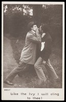 view Two drunk men (played by actors) swear undying friendship. Photographic postcard, ca. 1905.