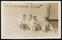 view Gorleston-on-Sea, Norfolk: young men on the beach at Gorleston Swimming Club. Photographic postcard by Jackson's Faces, 193-.