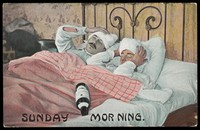 view Two men in bed on a Saturday night drinking from a bottle of alcohol. Colour process print, ca. 1908.