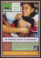 view An Indonesian child being examined with a stethoscope; representing support for the healthcare work of Memisa in Indonesia, recommended by the actor Willem Nijholt. Colour lithograph for Memisa, ca. 199-.