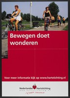 view People bicycling and walking in a park in the Netherlands; advertising exercise as preventing heart disease. Colour lithograph for the Nederlandse Hartstichting, ca. 2001.