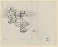 view A box, a bottle and a tube for ointment, pills and tablets. Pen and pencil drawing by E. Hodgkin, ca. 1969.