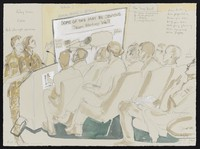 view A lecture to medical staff in London in training for operations in Helmand Province, Afghanistan. Watercolour by Julia Midgley, 2013.