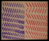 view Purple and red diagonals. Watercolour by M. Bishop, ca. 1977.