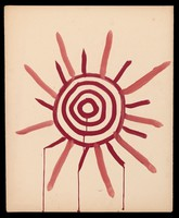view A red sun of concentric circles with radiant and dripping lines. Watercolour by M. Bishop, 1967.