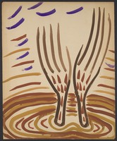 view A pair of hands raised in supplication. Watercolour by M. Bishop, 1965.