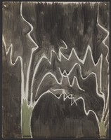 view White jagged lines on a black ground, with green tree trunks; representing a path through a dark forest. Watercolour by M. Bishop, 1970.