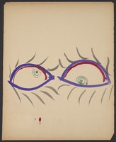 view A pair of eyes. Watercolour by M. Bishop, 1958.
