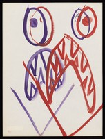 view A face with a mouth showing sharp teeth. Watercolour by M. Bishop, 1969.