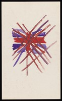 view The Union Jack crossed through with a red grid. Watercolour by M. Bishop, ca. 1969.