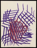 view A red drinking vessel obscured by purple grids. Watercolour by M. Bishop, 1970.