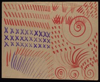 view Diagonals, saltires, spirals and dabs. Watercolour by M. Bishop.