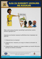 view A nutritionist displaying an image of fresh food to a group: importance of nutrition to combat diabetes in Kenya (Swahii version). Colour lithograph by Ministry of Health, ca. 2000.