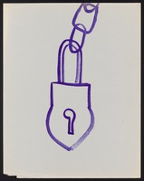 view A padlock attached to a chain. Watercolour by M. Bishop, 1970.