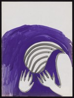 view A woman clutches her hands to her head against a purple wave. Watercolour by M. Bishop, 197-.