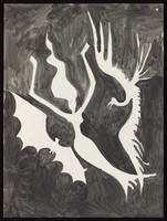 view A woman floating in a black sky threatened by a bat and a bird of prey. Watercolour by M. Bishop, 1970.