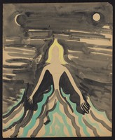 view A woman alone in a choppy sea against a sombre sky with the moon and the sun. Watercolour by M. Bishop, 1963.