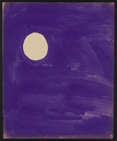view The moon in a purple sky. Watercolour by M. Bishop, 1967 (?).