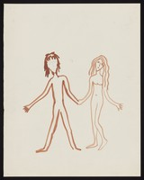 view Adam and Eve, naked, holding hands. Watercolour by M. Bishop, 1969.