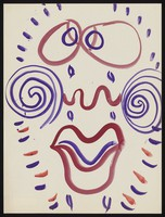 view A face with purple spirals on the cheeks, expressing unhappiness. Watercolour by M. Bishop, 1970.