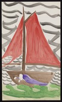 view A sailing boat with a man sleeping inside it. Watercolour by M. Bishop, 1970.