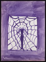 view A woman standing in a window is caught in a spider's web. Watercolour by M. Bishop, 1969.